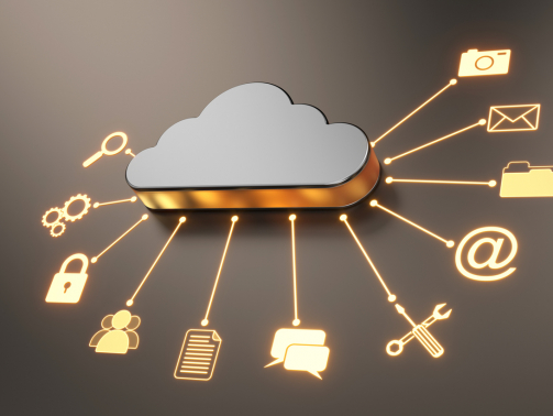 Cloud computing concept. Cloud with computer icons